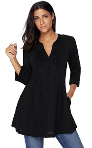 BY27750-2 Black Cable Knit Button Neck Swingy Tunic